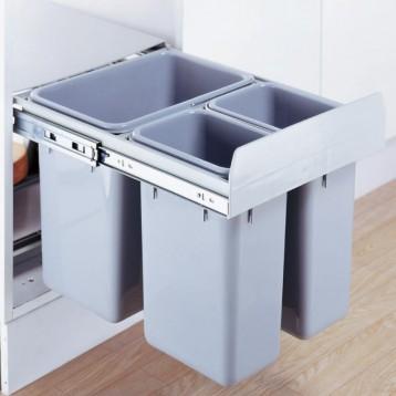 Cabinet Dustbin - 3 Waste Bin - 24 ltr