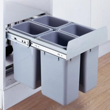 Cabinet Dustbin - 4 Waste Bin - 24 ltr