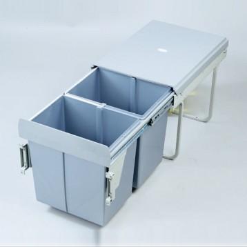 Cabinet Dustbin - 2 Waste Bin - 20 ltr - Grey