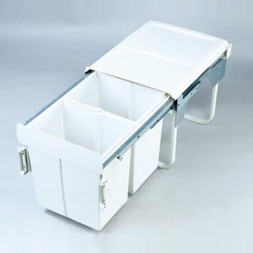 Cabinet Dustbin - 2 Waste Bin - 20 ltr - White