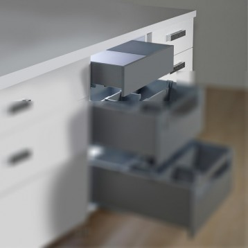 Slim Tandem Drawer with Front Panel - 400mm x 35Kg Charcoal Grey - 3IDFP4