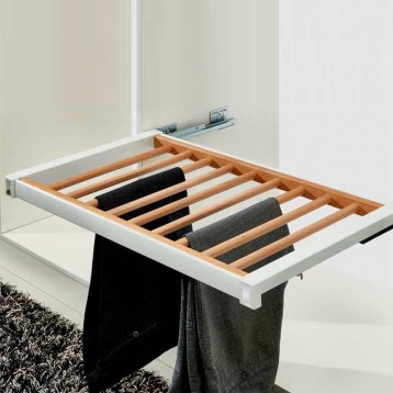 Wardrobe Trouser Rack with Aluminium Frame and Wooden Rail 600mm