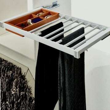 Wardrobe Trouser Jewellery Rack Wooden Box and Rail 900mm