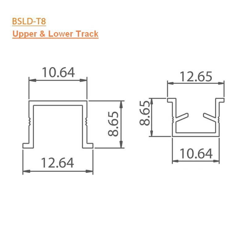 BTL BSLD-T8 Upper and Lower Track - Length 3mtr