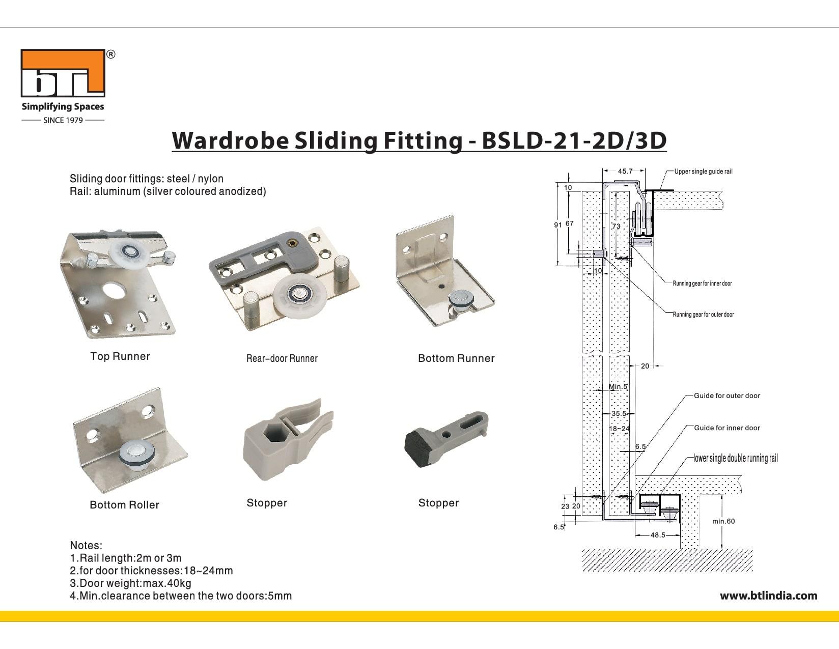 BTL BSLD-21-2D Wardrobe Sliding Fitting 2 Doors - Specifications