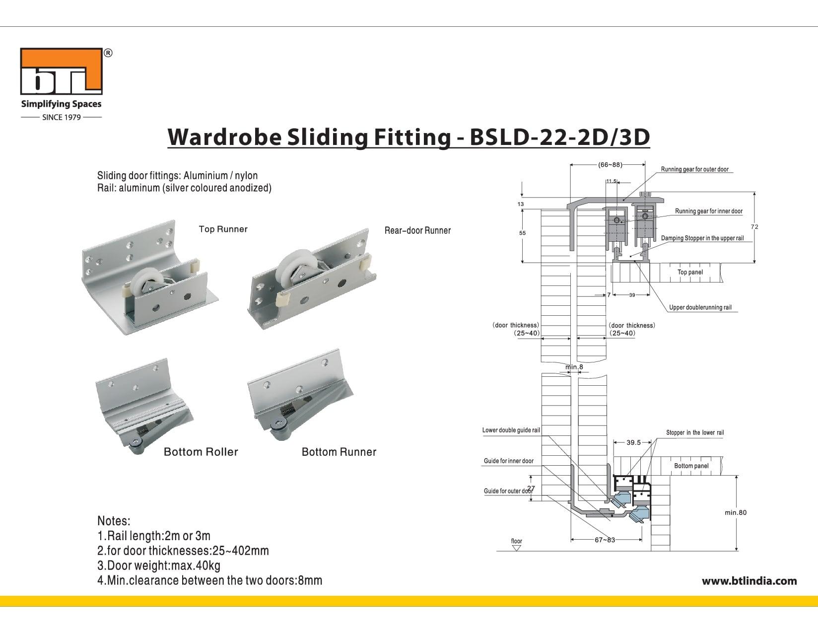 BTL  BSLD-22-2D Wardrobe Sliding Fitting 2 Doors - Specifications