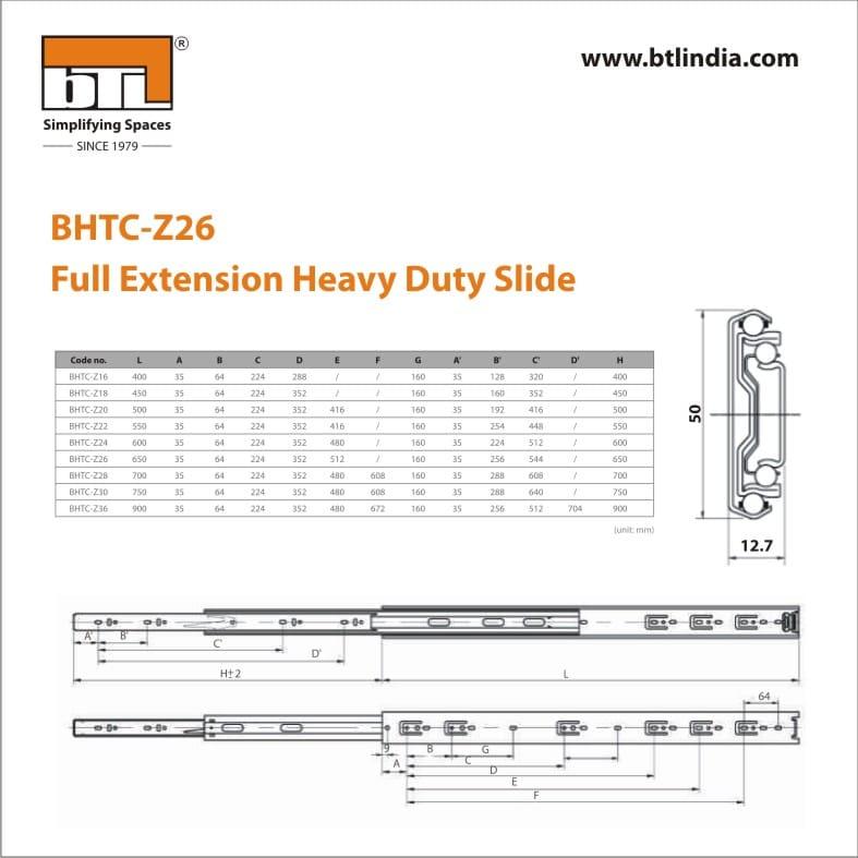 BTL 26 Inch Full Extension Heavy Duty Slide - 75 kg - BHTC-Z26