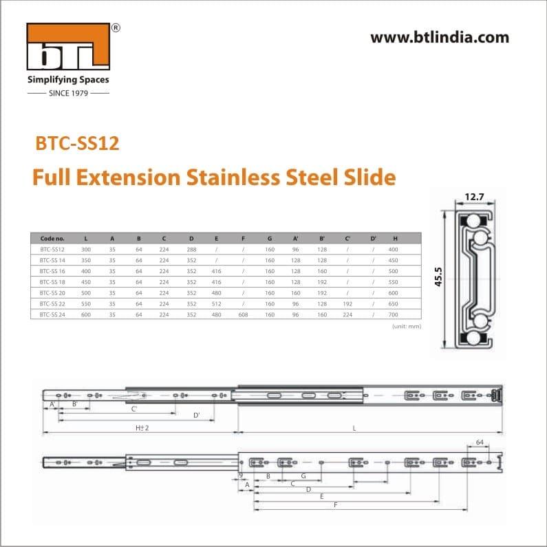 BTL 12 Inch Full Extension Stainless Steel Slide - 55 kg - BTC-SS12