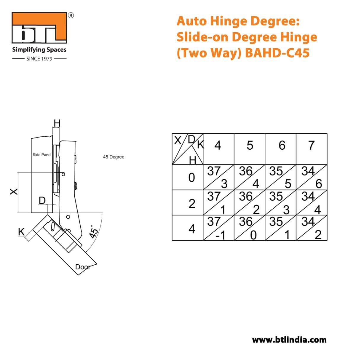 BTL BAHD-C45 Auto Hinge Degree: Slide-on Degree Hinge (Two Way) - Specifications