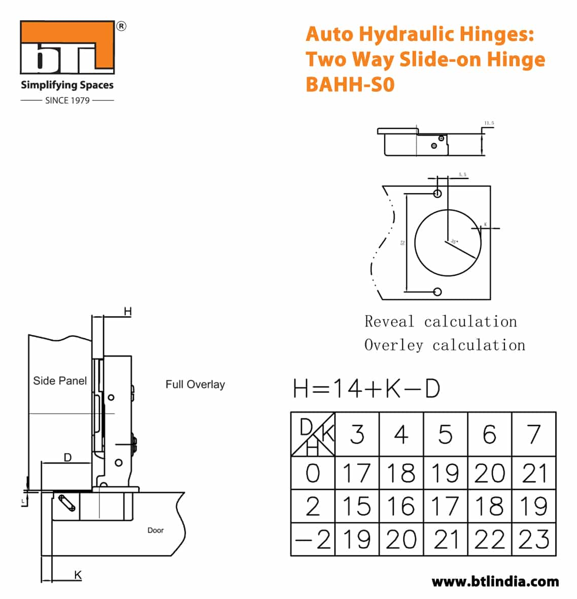 BTL BAHH-S0 Auto Hydraulic Hinge: Two Way Slide-on Hinge - Specifications