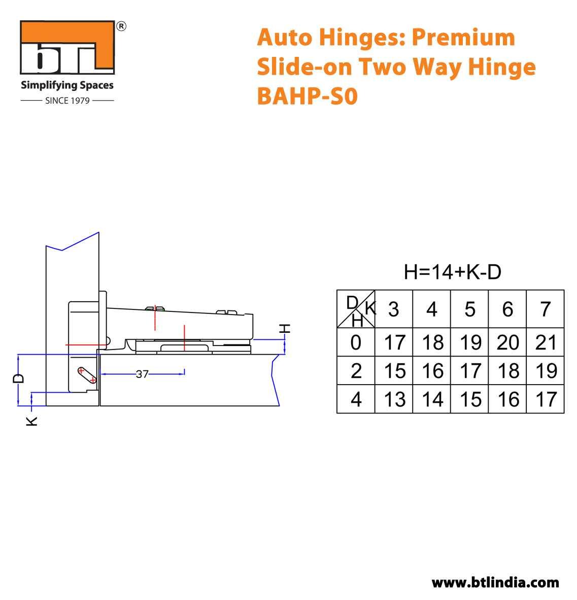 BTL BAHP-S0 Auto Hinge: Premium Slide-on Two Way Hinge