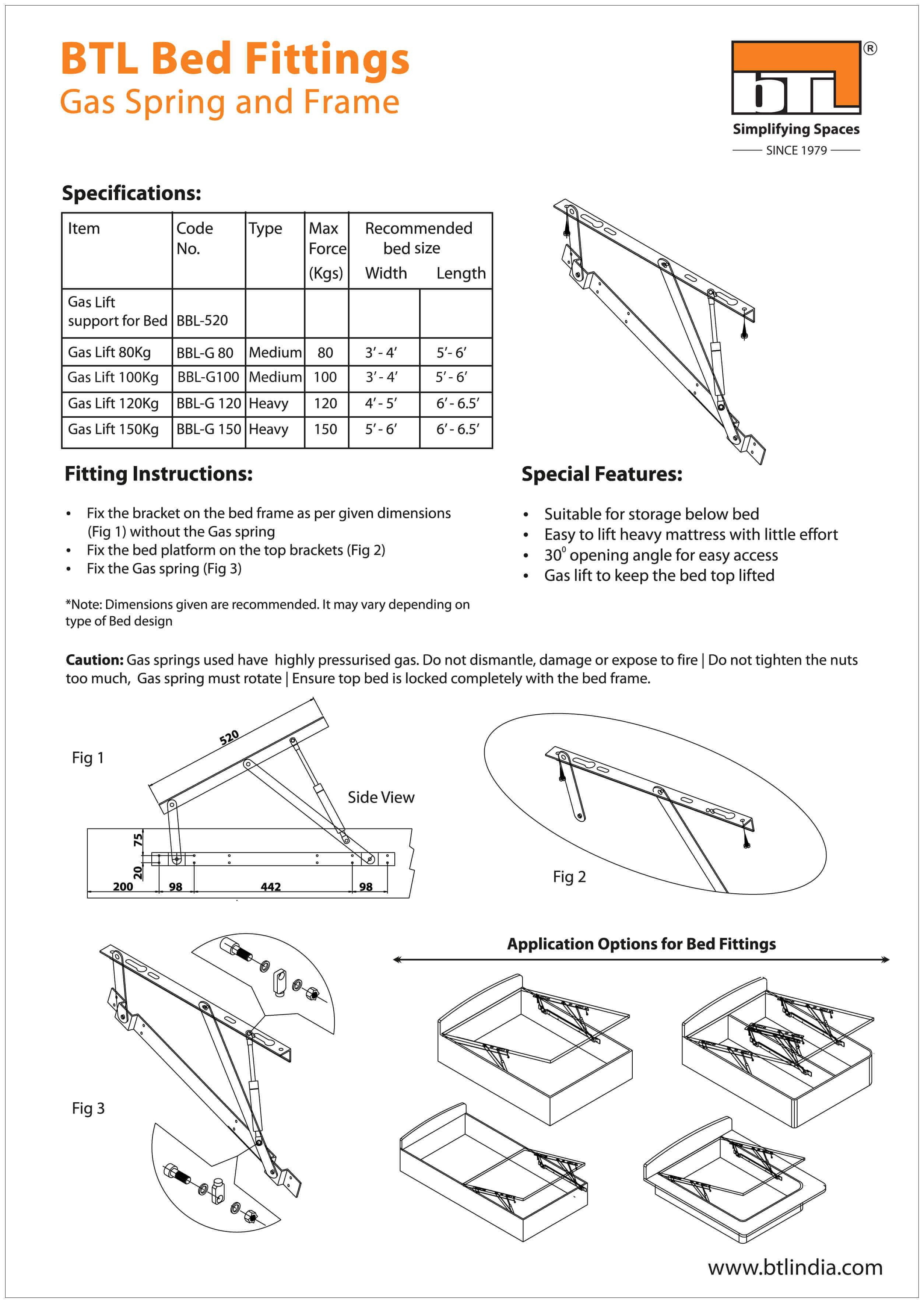 BTL Bed Fitting Lift Support Regular - BBL- 520