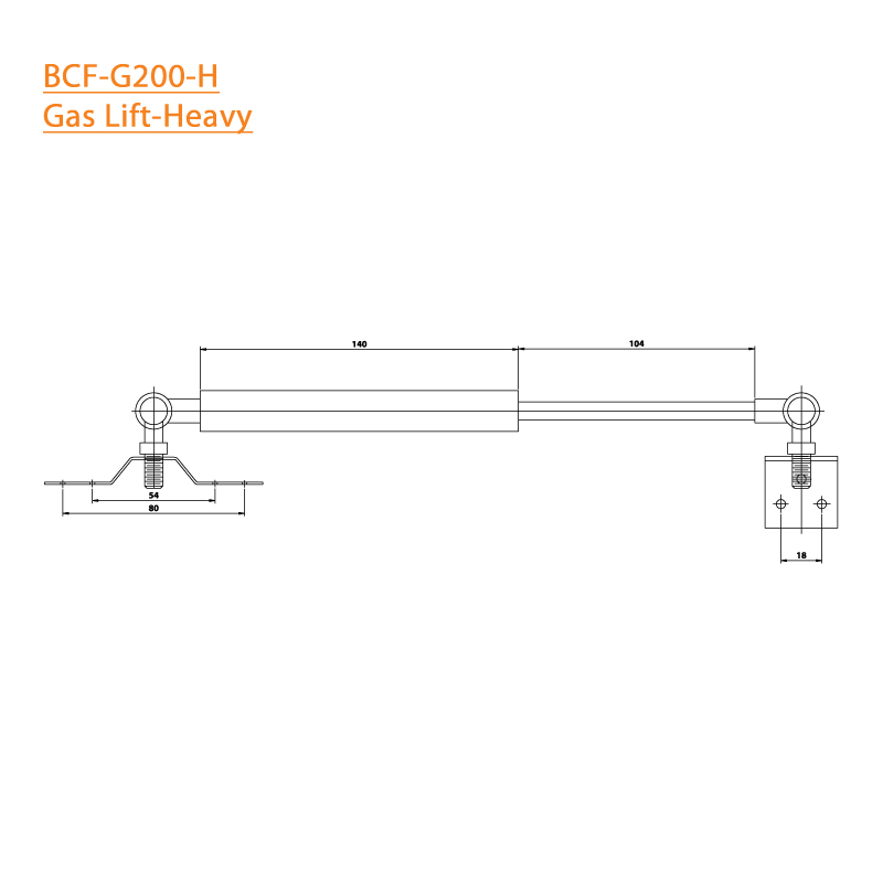 BTL BCF-G200-H Copper/Damp Plastic Heavy Gas Lift - 20 Kg