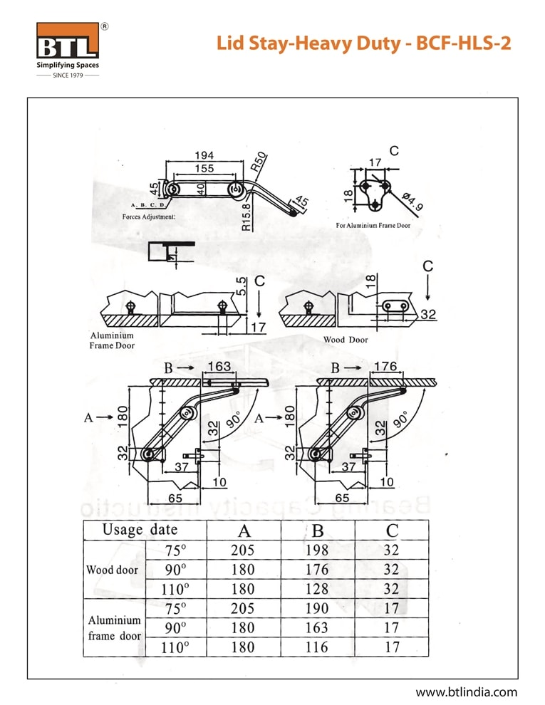 BTL BCF-HLS-2 Lid Stay-Heavy Duty - Load Weight: 12Kg & other Specifications