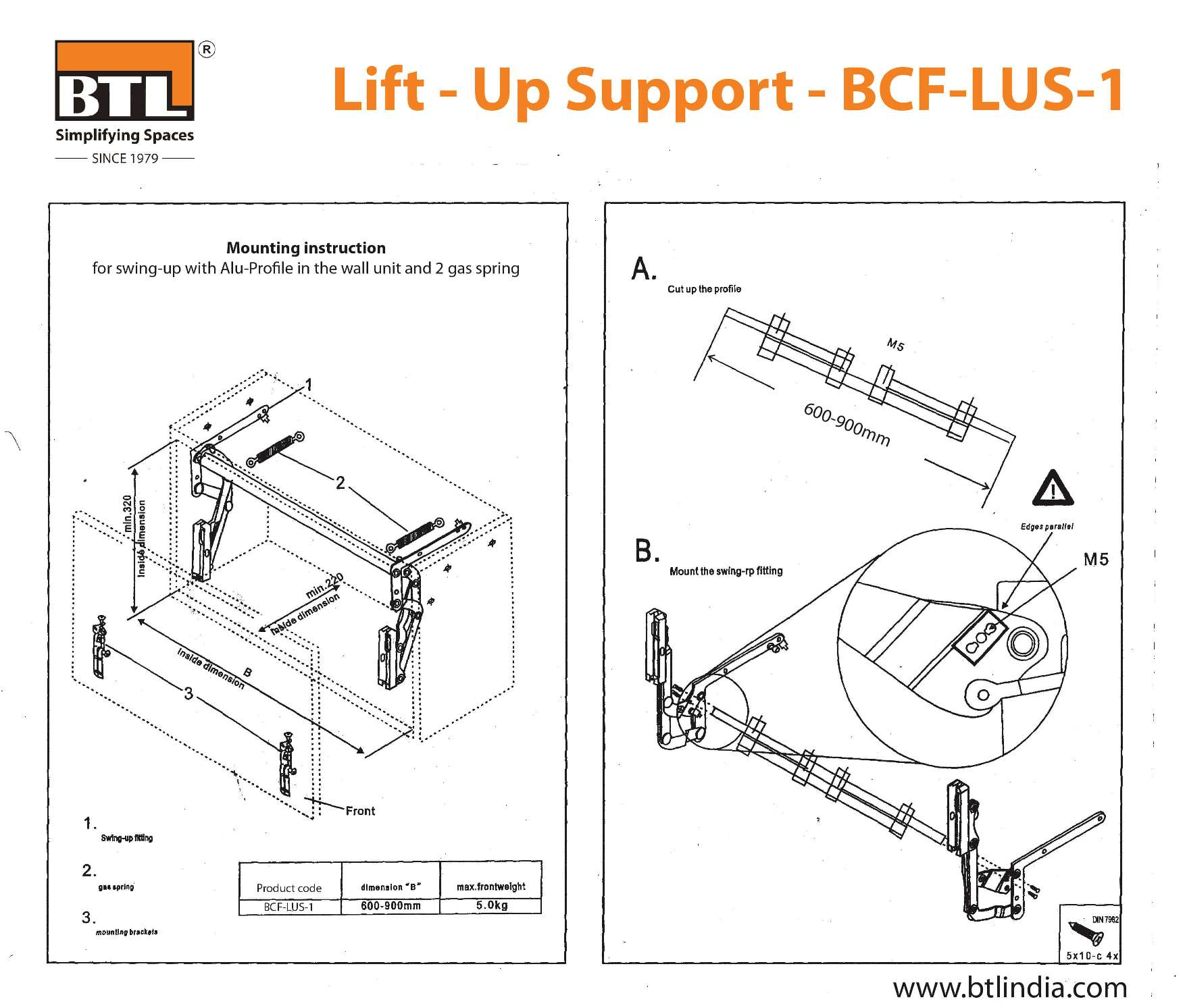 BTL Lift - Up Support - BCF-LUS-1 - Installation Instruction & other Product Details