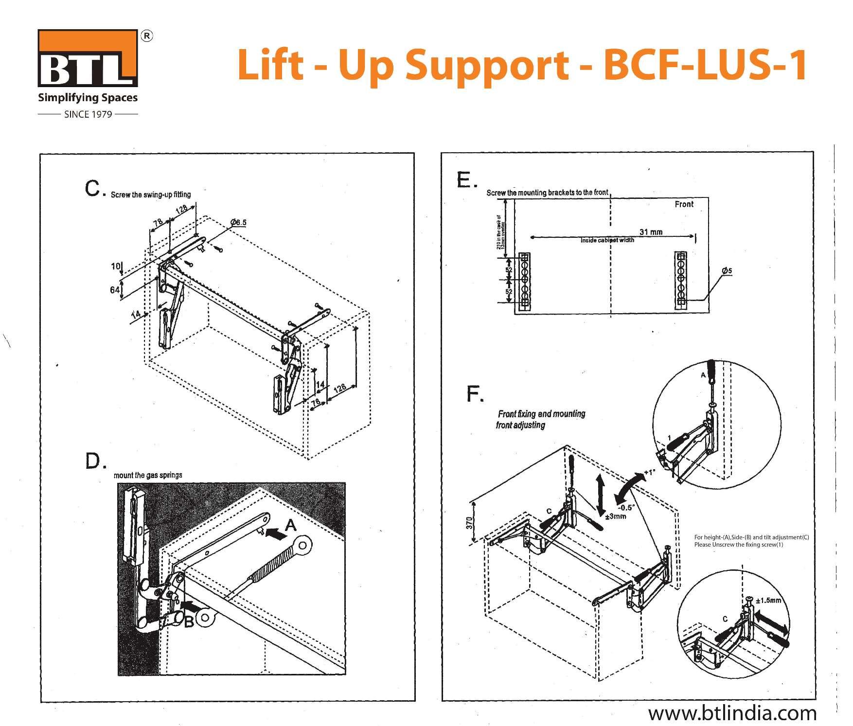 BTL Lift - Up Support - BCF-LUS-1 - Soft Close -Load Weight: 5Kg