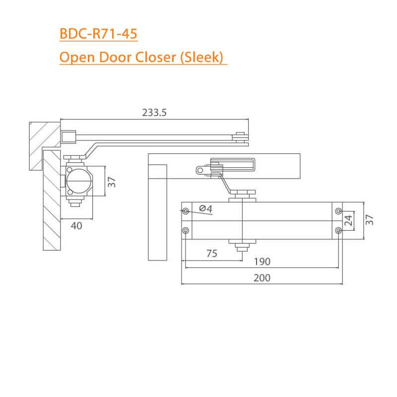 BTL Sleek Model Open Door Closer of Aluminium - 45-60kg - Installation Instructions