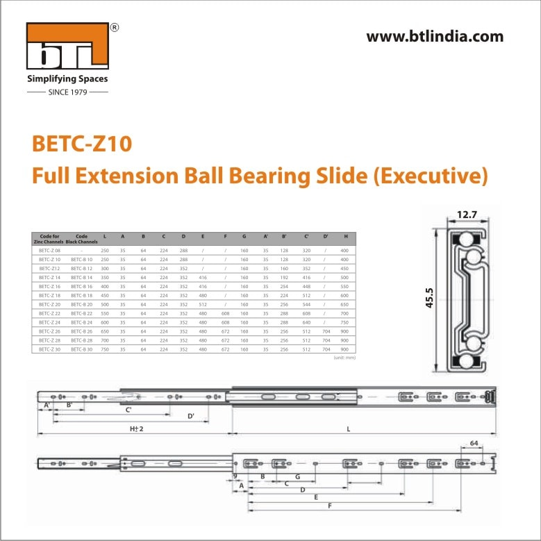 BTL 10 Inch Full Extension Ball Bearing Slides Executive Zinc - 45 kg - BETC-Z10