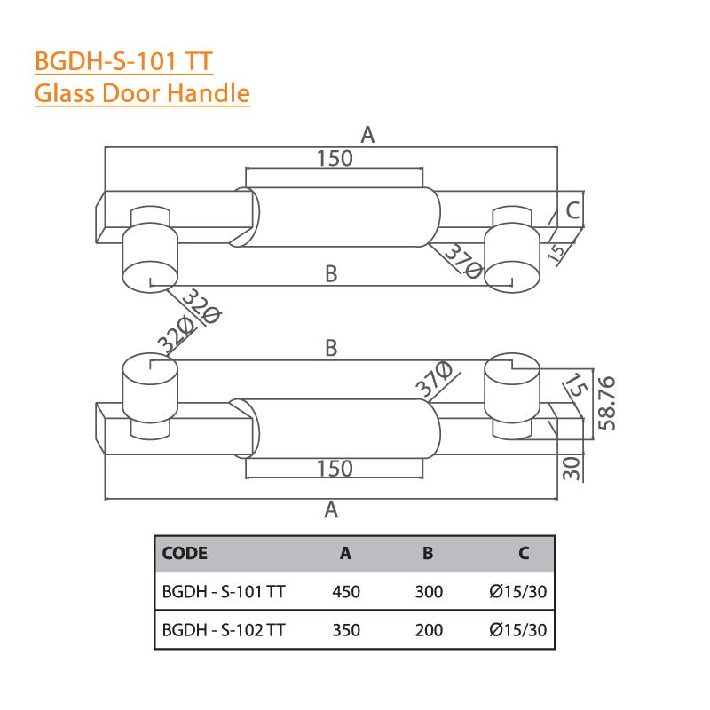 BTL BGDH-S-101-TT Glass Door Handle - 450x300