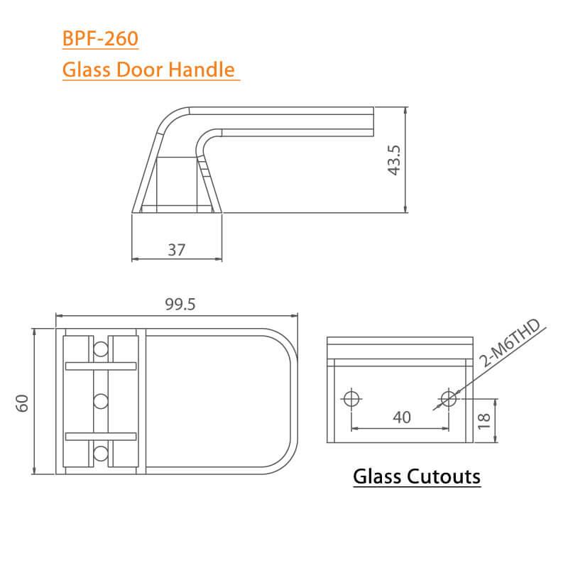 BTL Zinc Alloy Stain Nickel Finish Glass Door Handle-260