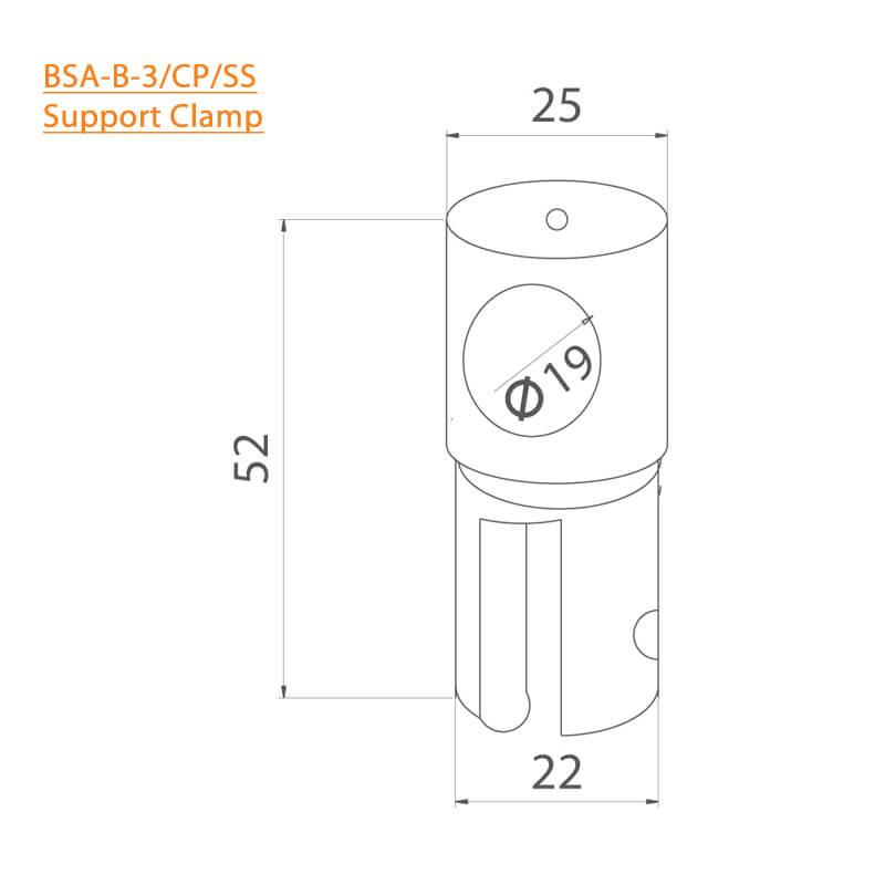 BTL BSA-B-3-CP-19MM Support Clamp 19 MM - CP