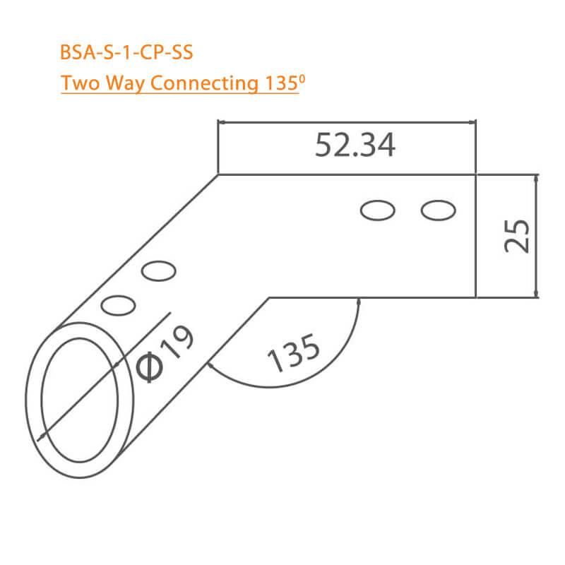 BTL BSA-S-1-CP Two Way Connector 135 Degree - CP