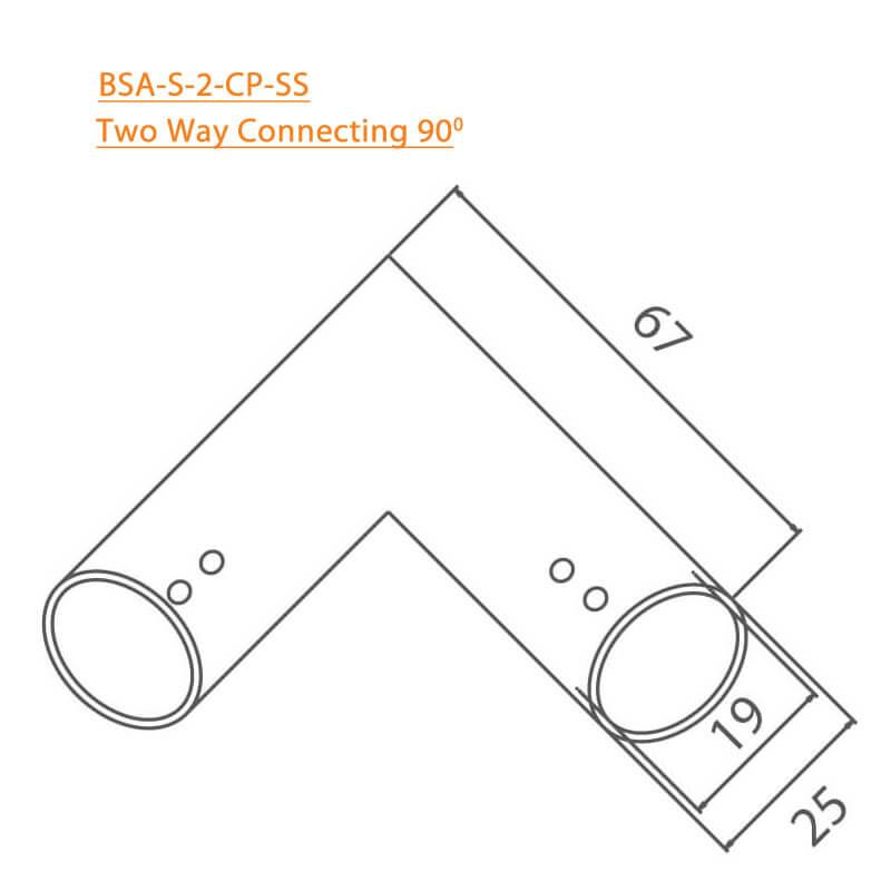 BTL BSA-S-2-CP Two Way Connector 90 Degree - CP