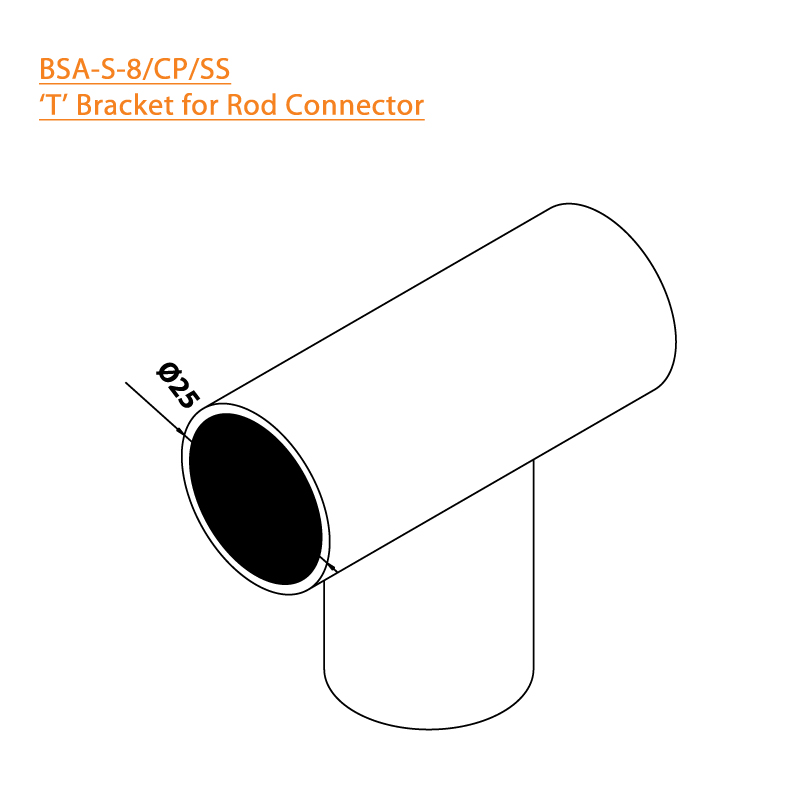 BTL BSA-S-8-CP T Bracket for Rod Connector - CP