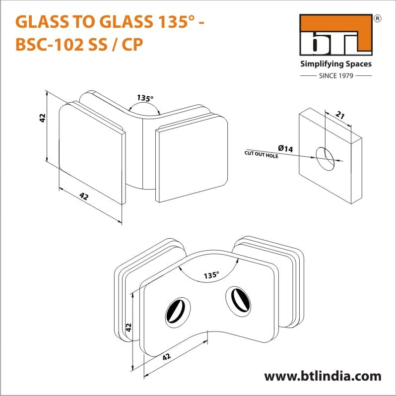 BTL BSC-102-SS Glass to Glass 135 Degree - SS