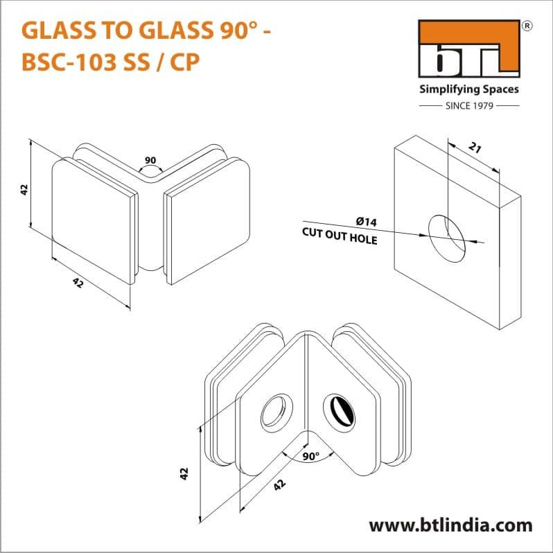 BTL BSC-103-SS Glass to Glass 90 Degree - SS