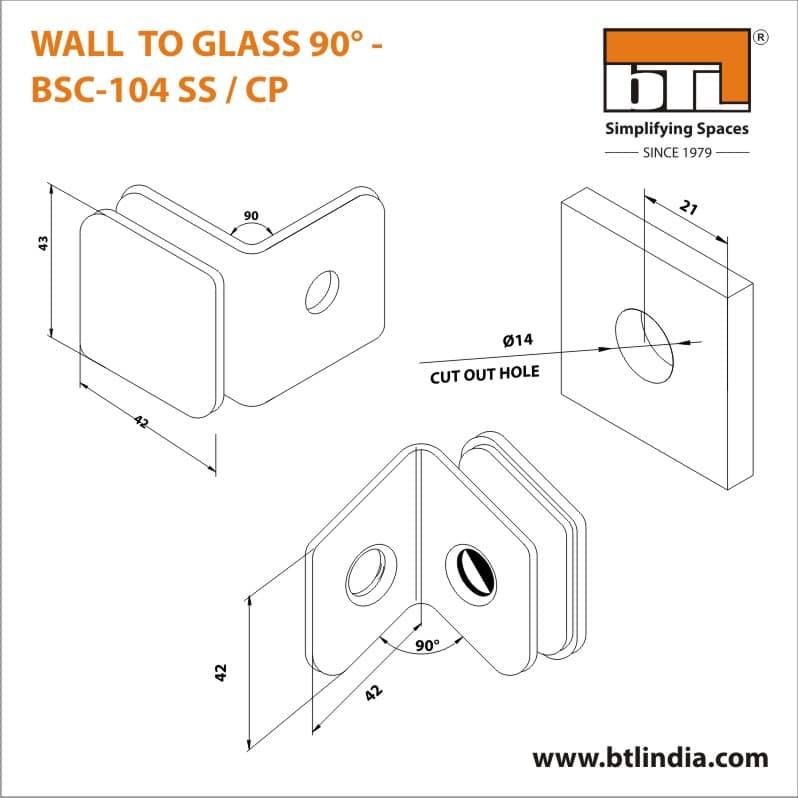 BTL BSC-104-SS Wall to Glass 90 Degree - SS