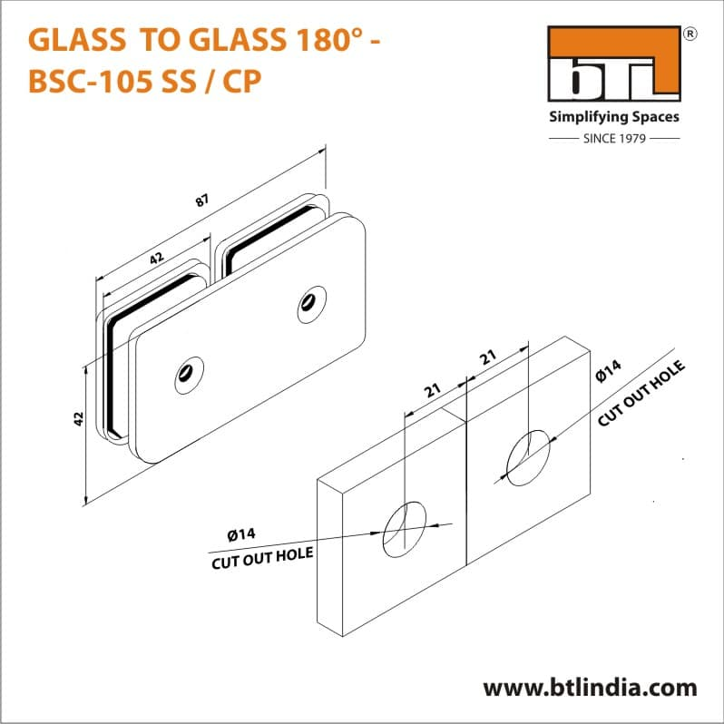BTL BSC-105-SS Glass to Glass 180 Degree - SS