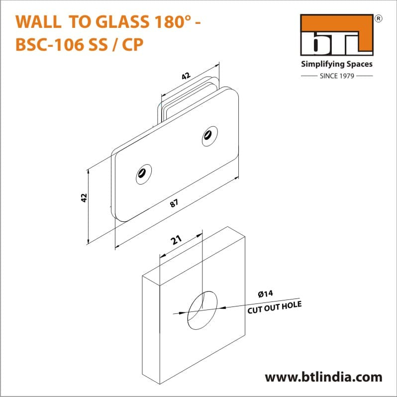 BTL BSC-106-SS Wall to Glass 180 Degree - SS