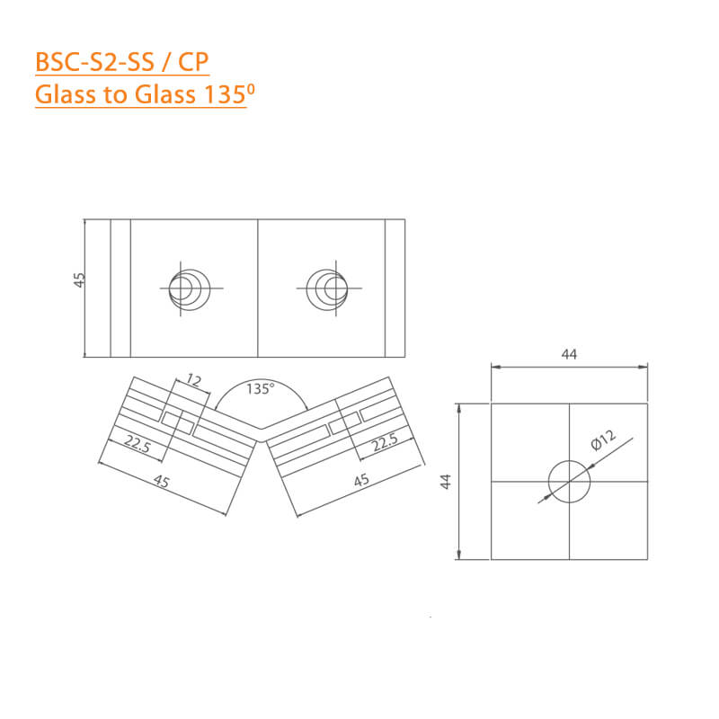 BTL BSC-S-2-SS Shower Connectors - Glass to Glass 135 Degree - SS