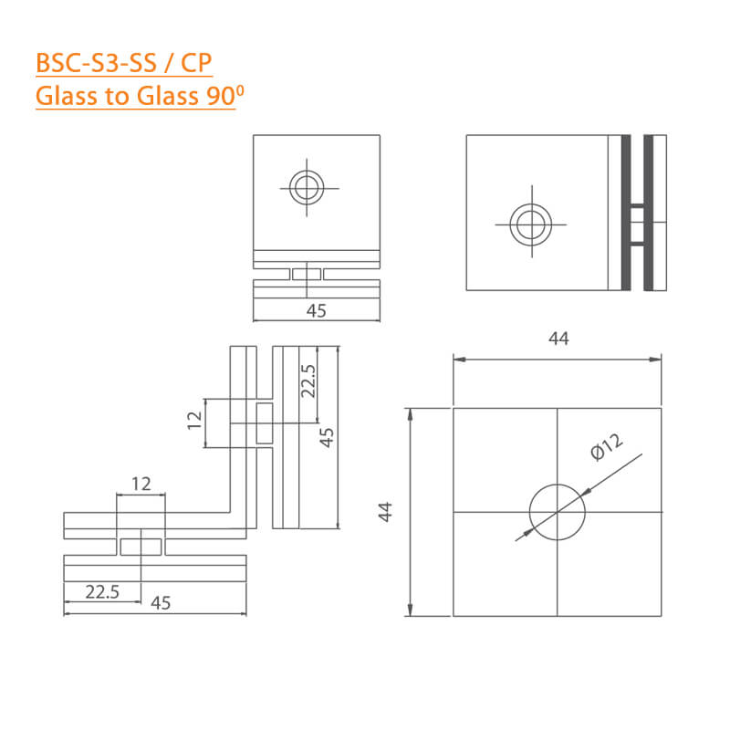 BTL BSC-S-3-SS Shower Connectors - Glass to Glass 90 Degree - SS