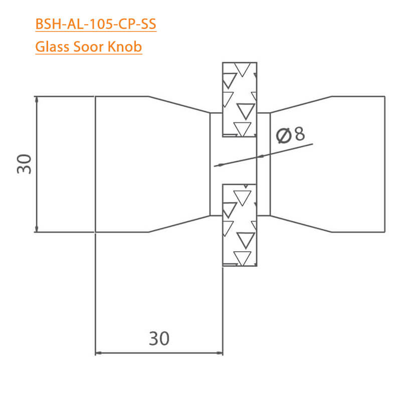 BTL BSH-AL-105-CP Glass Door Knobs-105-CP