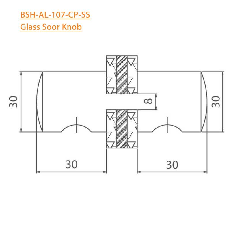 BTL BSH-AL-107-CP Glass Door Knobs-107-CP