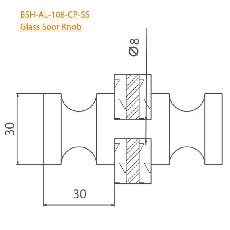 BTL BSH-AL-108-CP Glass Door Knobs-108-CP