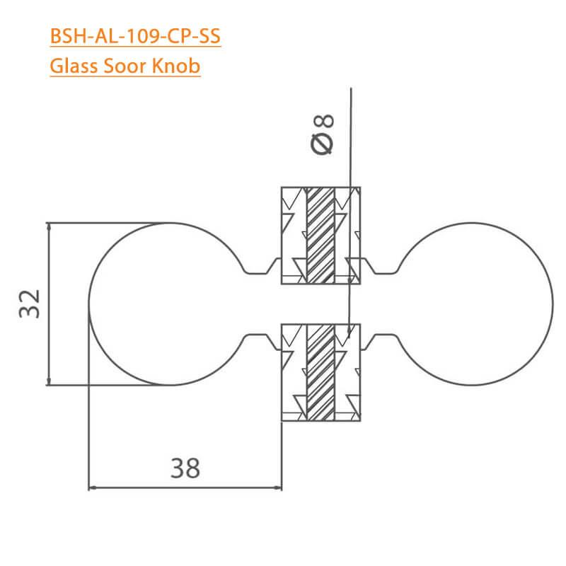 BTL BSH-AL-109-CP Glass Door Knobs-109-CP