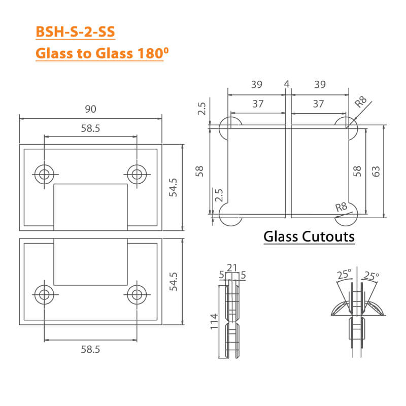 BTL Stainless Steel Shower Hinges with bearing weight of 45kgs - Glass to Glass 180 Degree - SS
