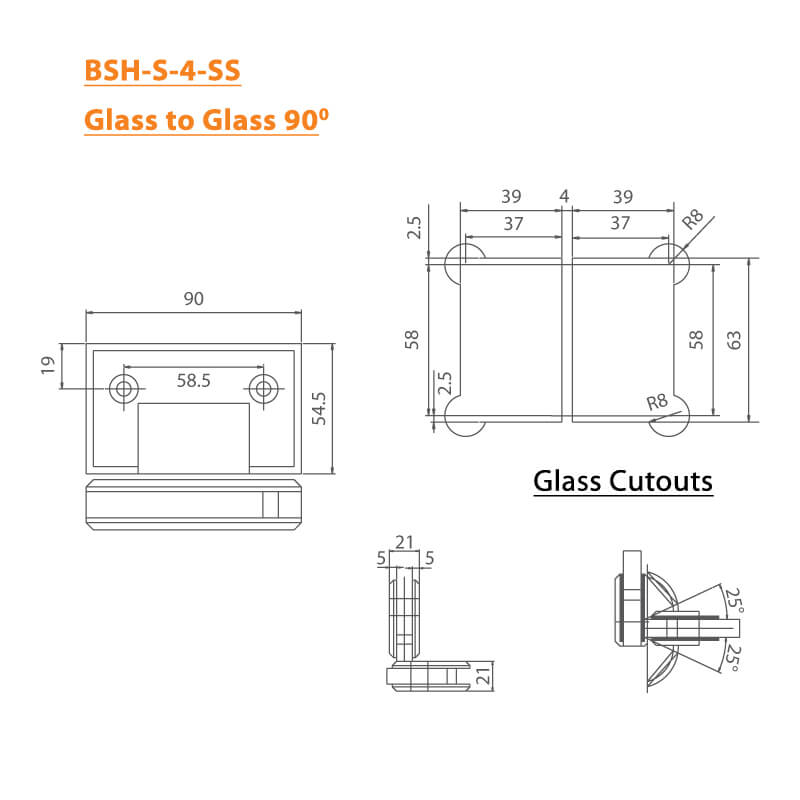 BTL Shower Hinges with 45kgs bearing weight - Glass to Glass 90 Degree - SS