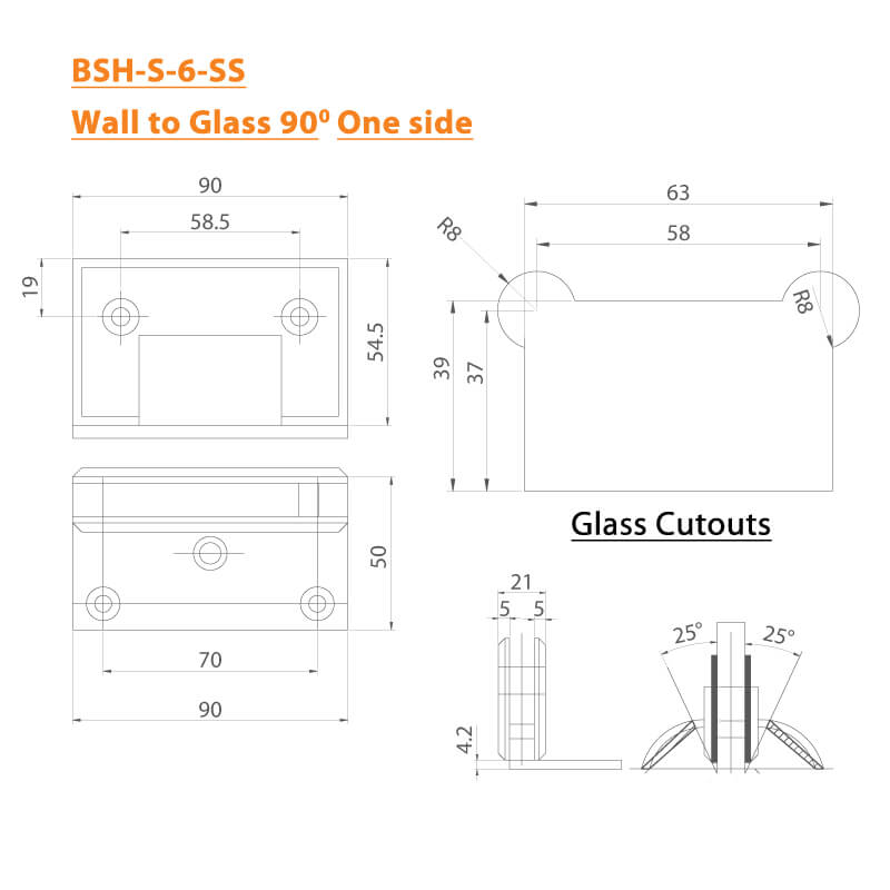 BTL Shower Hinges with 45kgs bearing weight - Wall to Glass 90 Degree One Side - SS