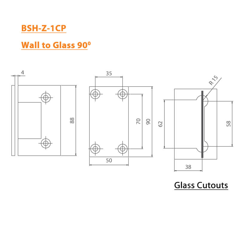 BTL Chrome plated Shower Hinges with 45kgs bearing weight - Wall to Glass 90 Degree - Zinc CP