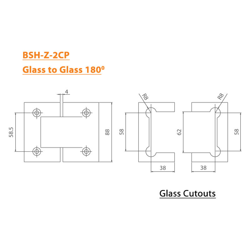 BTL Chrome plated Shower Hinges with 45kgs bearing weight - Glass to Glass 180 Degree - Zinc CP