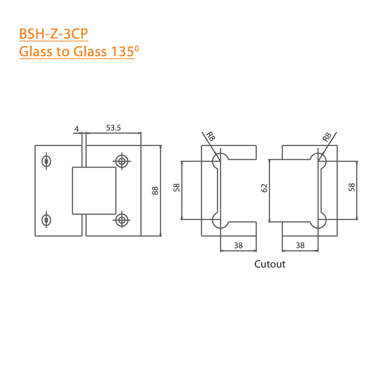 BTL Chrome plated Shower Hinges with 45kgs bearing weight - Glass to Glass 135 Degree - Zinc CP