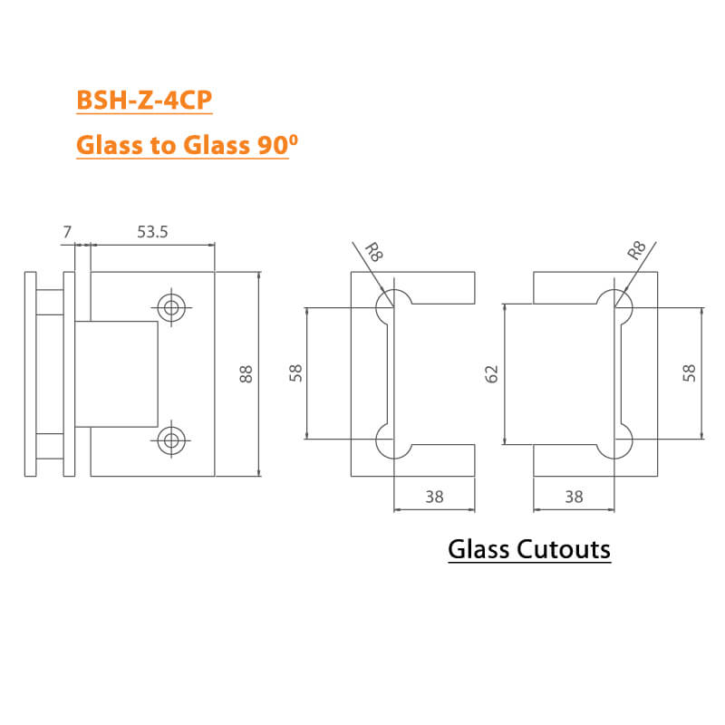 BTL Chrome plated Shower Hinges with 45kgs bearing weight - Glass to Glass 90 Degree - Zinc CP