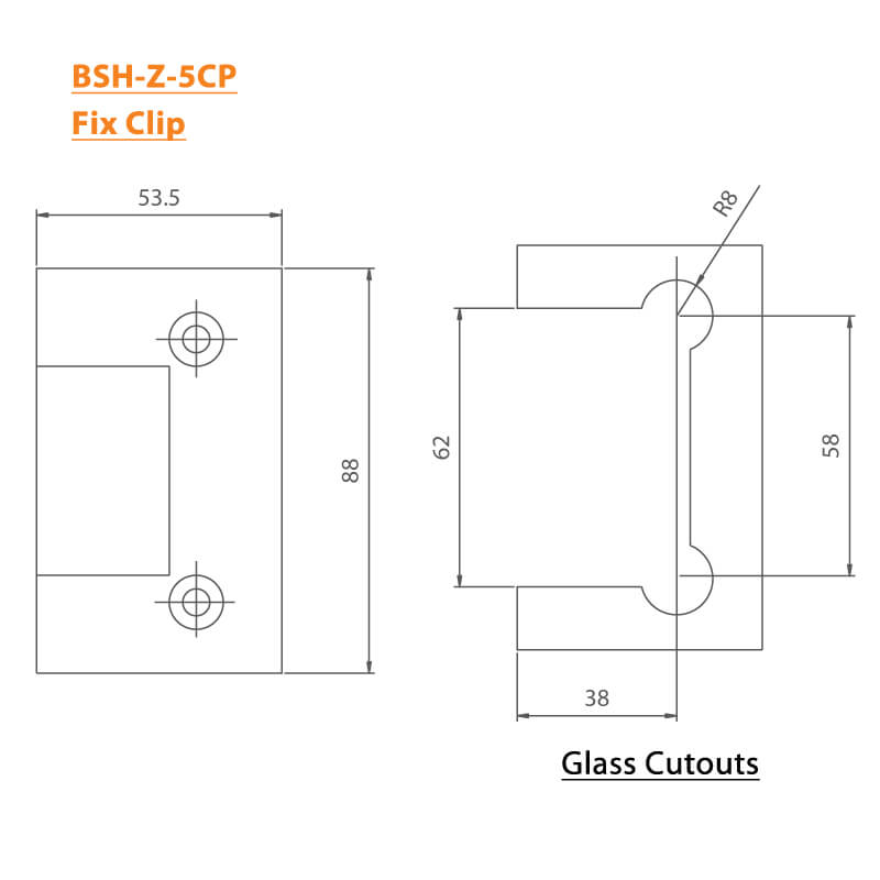 BTL Chrome plated Shower Hinges with 45kgs bearing weight - Fix Clip - Zinc CP