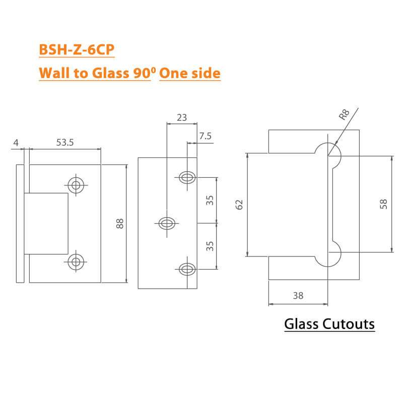 BTL Chrome plated Shower Hinges with 45kgs bearing weight - Wall to Glass 90 Degree One Side - Zinc CP