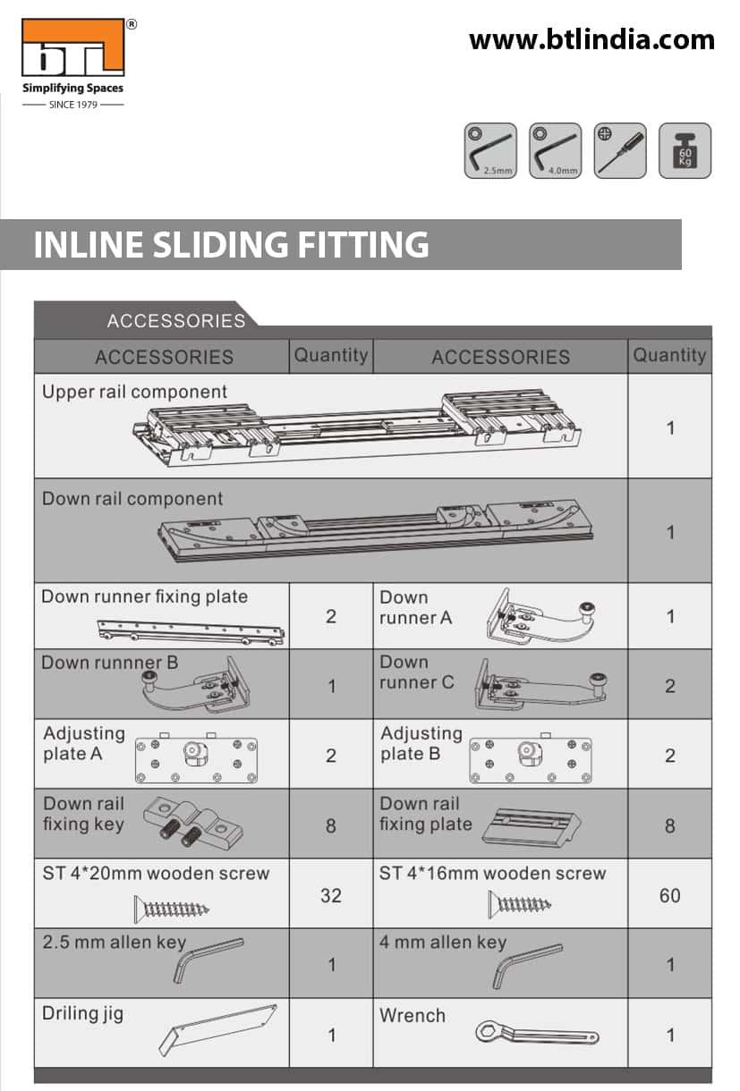 BTL BSLD-1001-1750 Wardrobe Inline Sliding Fitting For Cabinet Width 1800mm - Wardrobe Accessories