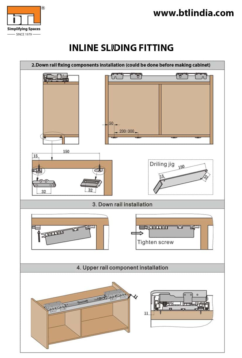 BTL Wardrobe Fitting For Cabinet Inline Sliding  Width 1800mm - Installation Instructions